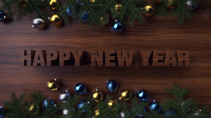 Wooden background. Happy new year 2019. 3d render