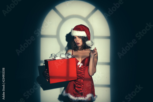 7c06c2e8f Christmas gifts for sexy woman. New year santa girl. Sexy girl in red  lingerie