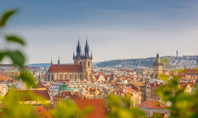 Aerial view over Church of Our Lady from Letenske sady park in Prague, Czech Republic