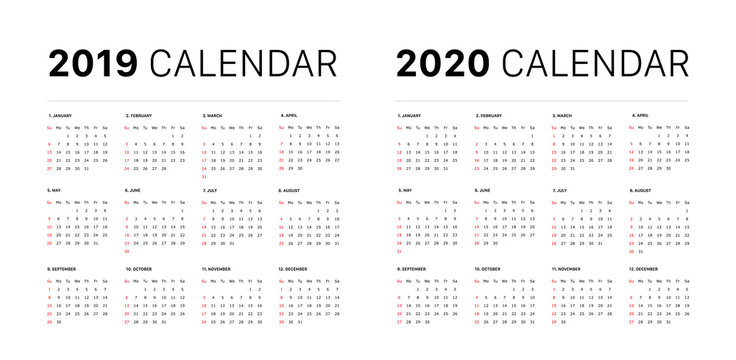 2019 calendar starting sunday Calendar 2019 and 2020 template. Calendar design in black and white colors, holidays in red colors. Vector