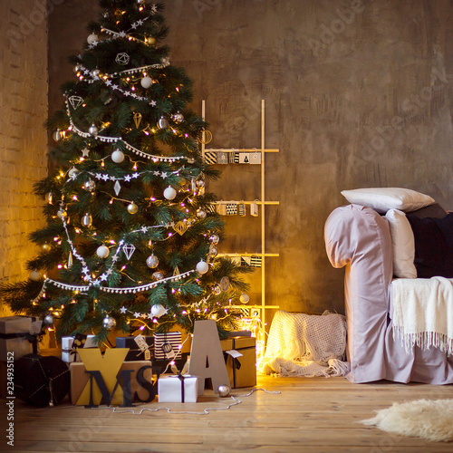Interior Of Living Room With A Christmas Tree And Decorations New Year Home Background