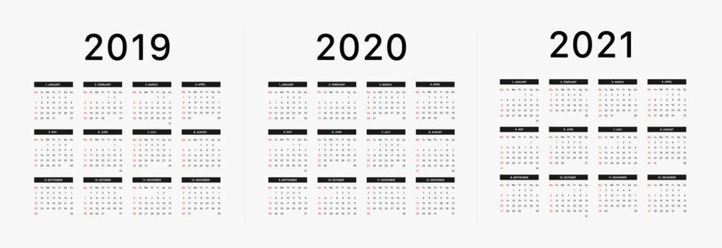 2019 calendar starting Monday Calendar 2019 and 2020 template. Calendar design in black and white colors, holidays in red colors. Vector