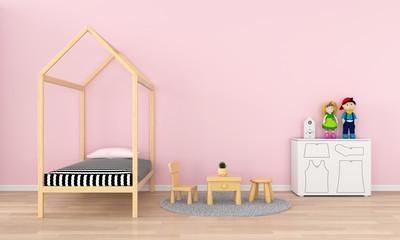 Pink child room interior for mockup, 3D rendering