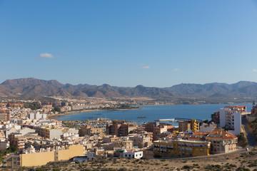 Puerto de Mazarron Murcia Spain an elevated view of the spanish coast town