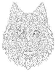 Patterned head of the wolf. Dog