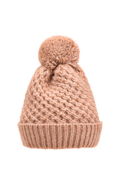Warm knitted hat on a white background.