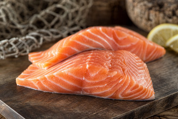 Foto op Canvas Vis Fresh Salmon Fillets