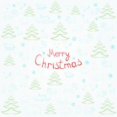Christmas card with Christmas inscription and animals