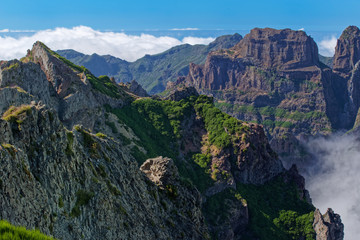 Amazing view on the mountain peaks from Pico do Arieiro on Portuguese island of Madeira