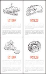 Fast Food Taco Burrito Set Vector Illustration