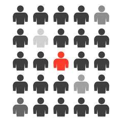 The icon of a group of people with different degrees of selection of several persons from the total mass and one person highlighted in red. Vector illustration on white background.