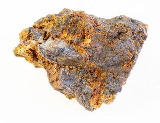 rough hematite (iron ore) stone on white