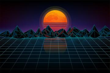 Futuristic retro landscape of the 80`s.Wireframe terrain polygon landscape design. Background retro wave. Night digital landscape, moon, mountains  and a laser grid, wave music.