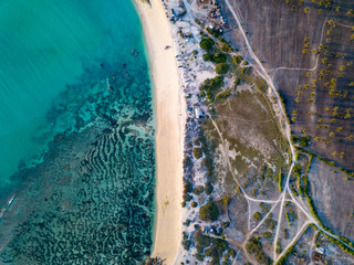 Indonesia, Lombok, Aerial view of beach