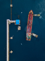 Indonesia, Bali, Aerial view of tanker ship