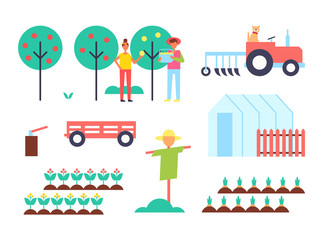 Greenhouse and Tractor Farm Vector Illustration