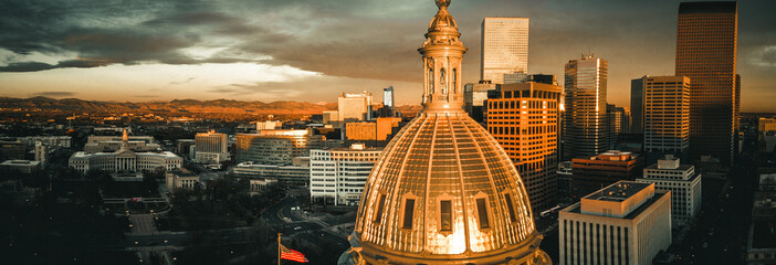 Aerial drone photo - Sunrise over the golden Colorado State Capitol Building.  Denver Wall mural