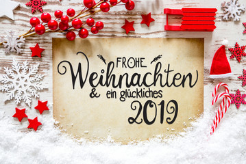 Bright Red Decoration, Calligraphy Glueckliches 2019 Means Happy 2019