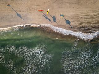 Indonesia, Bali, Kuta beach, Aerial view of surfers