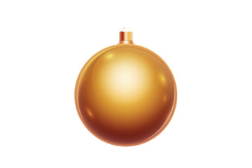Golden christmas ball isolated on white background. Christmas decorations, ornaments on the Christmas tree.
