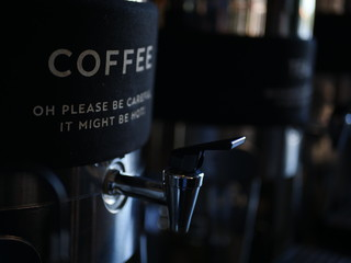 a coffee machine with a label