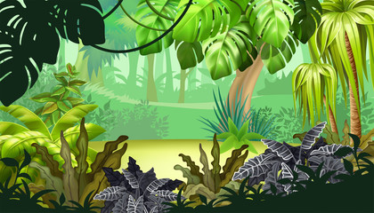 Background jungle with palm trees and lianas. Landscape with tropical exotic plants. Vector illustration.