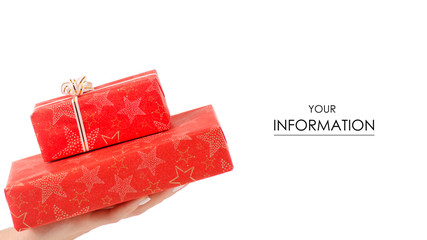 Gift red boxes in hand pattern on white background isolation