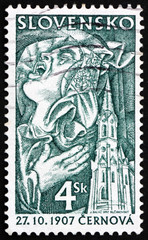 Postage stamp Slovakia 1997 lamenting woman and church