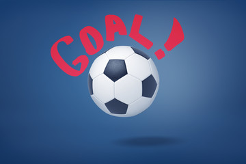 3d rendering of big football ball on a dark blue background with a red writing 'Goal ' around it.
