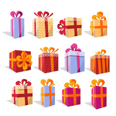 Vector set of different colorful perspective gift boxes. Beautiful present box with overwhelming bow. Christmas gift box. Beautiful wrapped gift boxes. Vector flat volume cartoon illustration.
