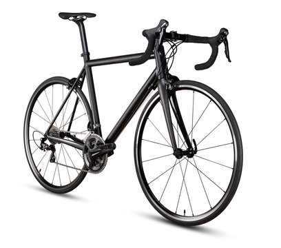 black racing sport road bike bicycle isolated on white background