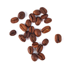 Roasted coffee beans isolated on white background. Three coffee beans