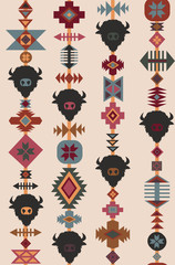 Vector tribal seamless pattern with bull skull and decorative ethnic ornament. Boho style background. American praerie indian motifs. Decorative ethnic ornament. Colorful backdrop, good for printing.