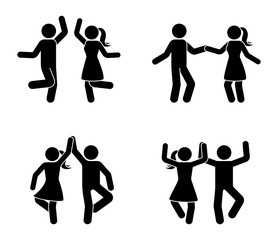 Happy male and female stick figure dancing together. Black and white party icon pictogram