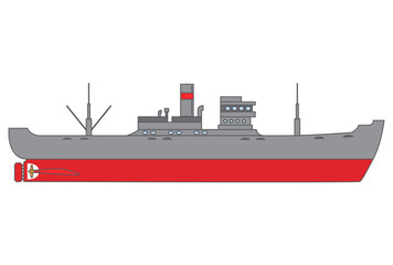 Old sea merchant ship. The freighter with the diesel engine and a pipe. The bulk carrier in flat style in a vector.The ship on delivery of goods.Element of design of the websites, games, infographics.