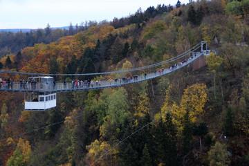 Eine Hängebrücke über der Rappbodetalsperre