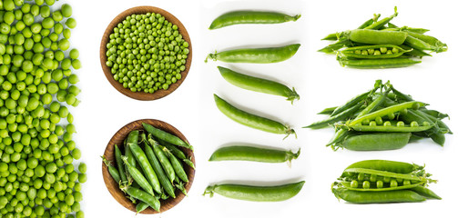 Set of green peas. Green peas isolated on a white background. Fresh green peas on a white background. Studio photo. Isolated macro food photo close up from above on white background.