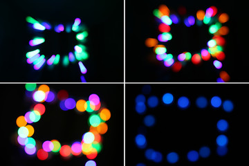 Set of blurred lights. Multicolored bokeh on a dark background for installation.
