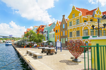Willemstad, Curacao, Netherlands Antilles. Colourful houses and commercial buildings of Punda, Willemstad Harbor, on the Caribbean island of Curacao, Netherlands Antilles Wall mural
