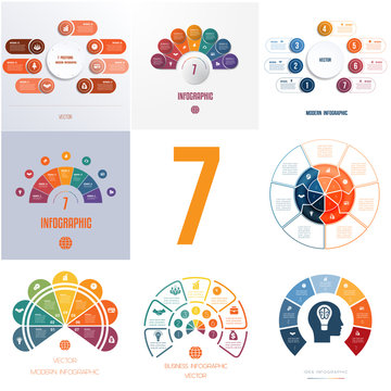 Universal templates elements Infographics conceptual cyclic processes for 7 positions possible to use for workflow, banner, diagram, web designs