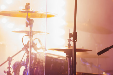 Cymbals in bright strobe  lights. Close-up