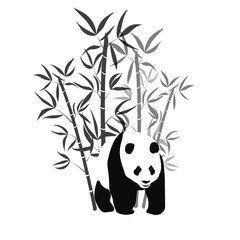 Bamboo with giant panda black and white vector illustration.