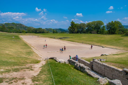 The stadium in the archaeological site of Olympia in Greece. The greatest stadium in ancient Greece with capacity of 45,000 spectators. In antiquity the Olympic Games were hosted every four years