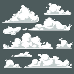 Cloud set, cartoon vector illustration isolated on gray background