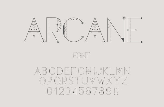 Original esoteric font, alphabet, letters and numbers. Vector Illustration