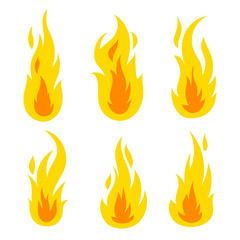 Cartoon fire set, objects set, vector illustration