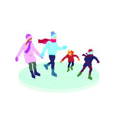Flat cartoon family on the ice rink, vector illustration isolated on white background, winter cold season