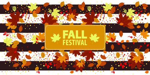 Autumn Party Flyer Illustration with falling leaves. Vector Autumnal Fall Festival Design for Invitation or Holiday Celebration Poster. Flat cartoon design, illustration isolated on white background.