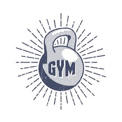 Vintage gym logo - weight in the style of pop art with a sunburst