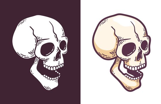 Cartoon skull with open mouth perspective view